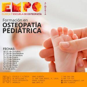 Cartel informativo con pie de un bebé y fechas de la formación en Osteopatía Pediátrica