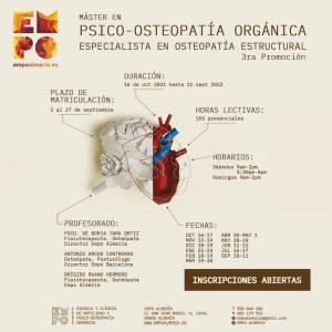 Cartel informativo con corazón con información del Máster en Psico-Osteopatía Orgánica de la Escuela de Osteopatía EMPO