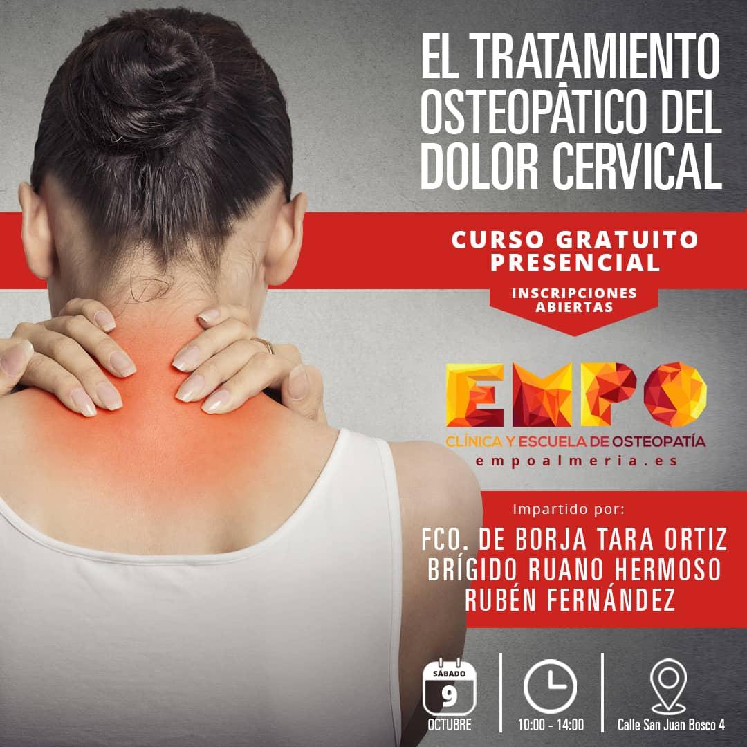 Cartel curso gratuito presencial El Tratamiento Osteopático del Dolor Cervical