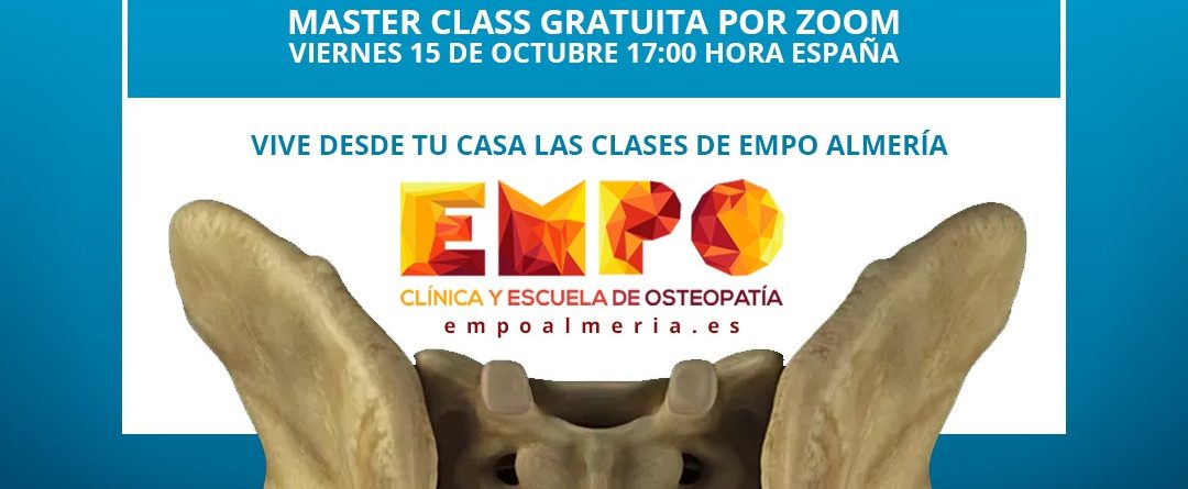 cartel sobre la masterclass online gratuita del hueso sacro