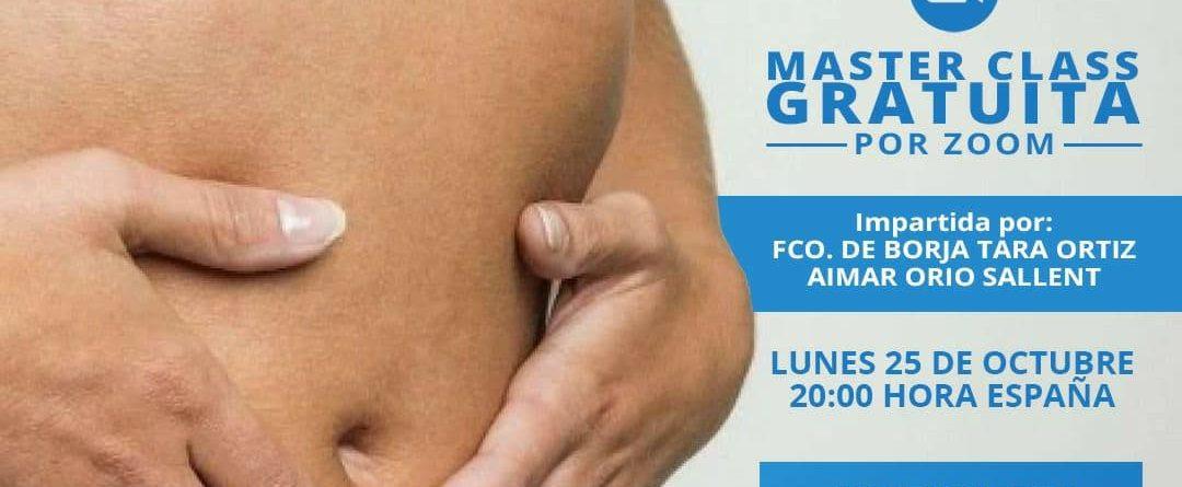 cartel de la masterclass online gratuita sobre disfunciones del tubo digestivo